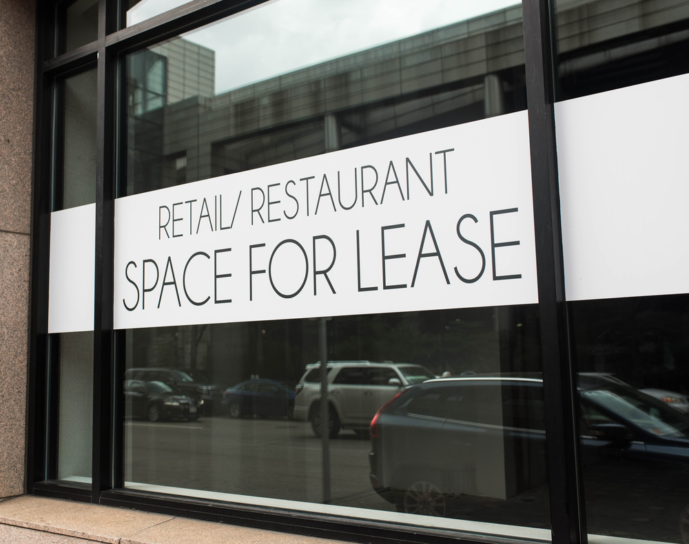 Storefront with for lease sign